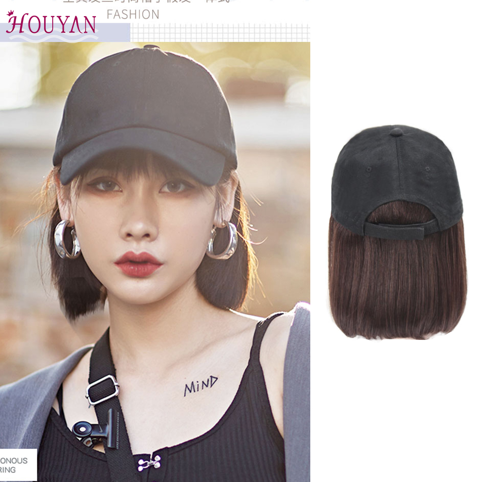 HOUYAN Baseball Hat Straight Hair Heat-resistant Elastic Fiber Wig Synthetic Short Heat-resistant Fiber Cut Wig
