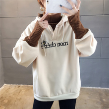 Autumn and winter 2019 new large size womens Korean loose foreign gas thickening plus velvet sweater jacket fat mm tide