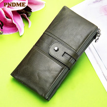 PNDME fashion vintage genuine leather ladies clutch wallets casual simple high quality soft cowhide women's card holder purse