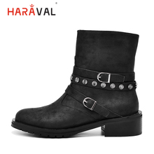 HARAVAL Winter Woman Motorcycle Ankle Boots Luxury Leather Round Toe Square Heel Fashion Buckle Shoes Warm Classic Soft
