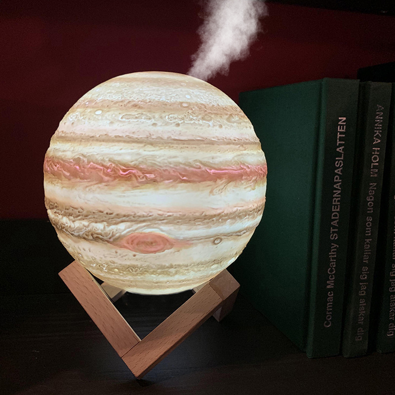 3D Jupiter Air Humidifier 880ML USB Colorful Lamp Light Essential Oil Diffuser Moon Humidifier Atomizer Freshener MistMaker Home