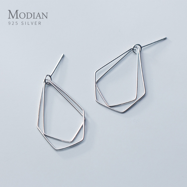 Modian Exquisite Water Drop Ear Stud Earrings for Women Authentic 925 Sterling Silver Minimalism Jewelry for Girl 2020 Bijoux