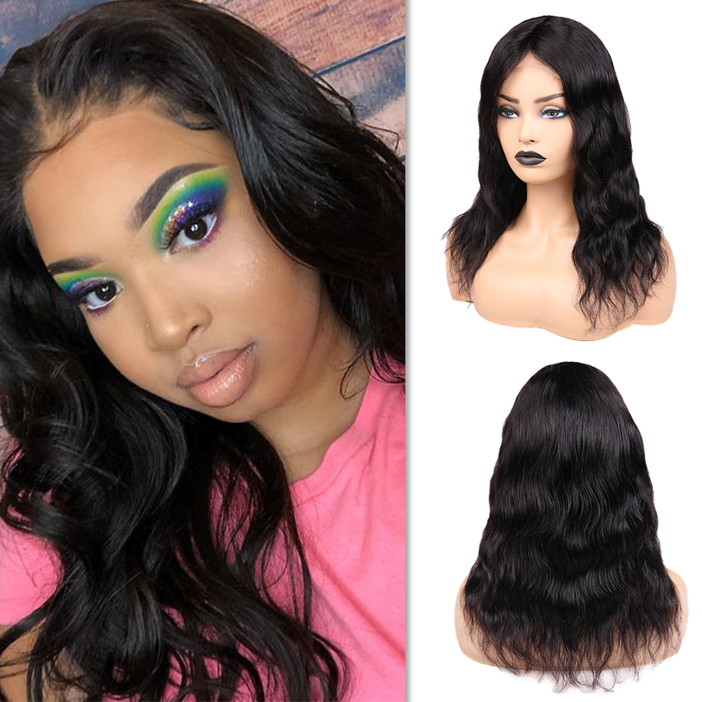 Wignee 4*4 Lace Closure Natural Wave Human Hair Wigs For Black Women Middle Part Brazilian Remy Hair Glueless Lace Human Wigs