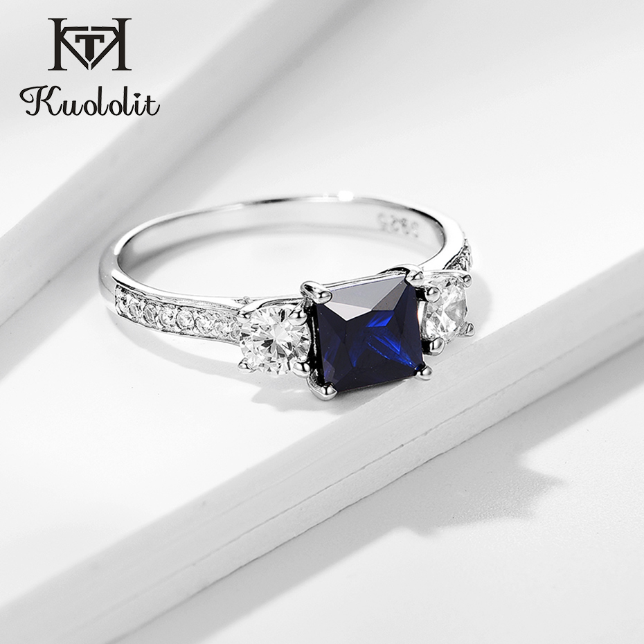 Kuololit Sapphire Gemstone Set Ring For Women SQ Blue Stone Solid 925 Sterling Silver Jewelry Half Size  Ring For Wedding Size10