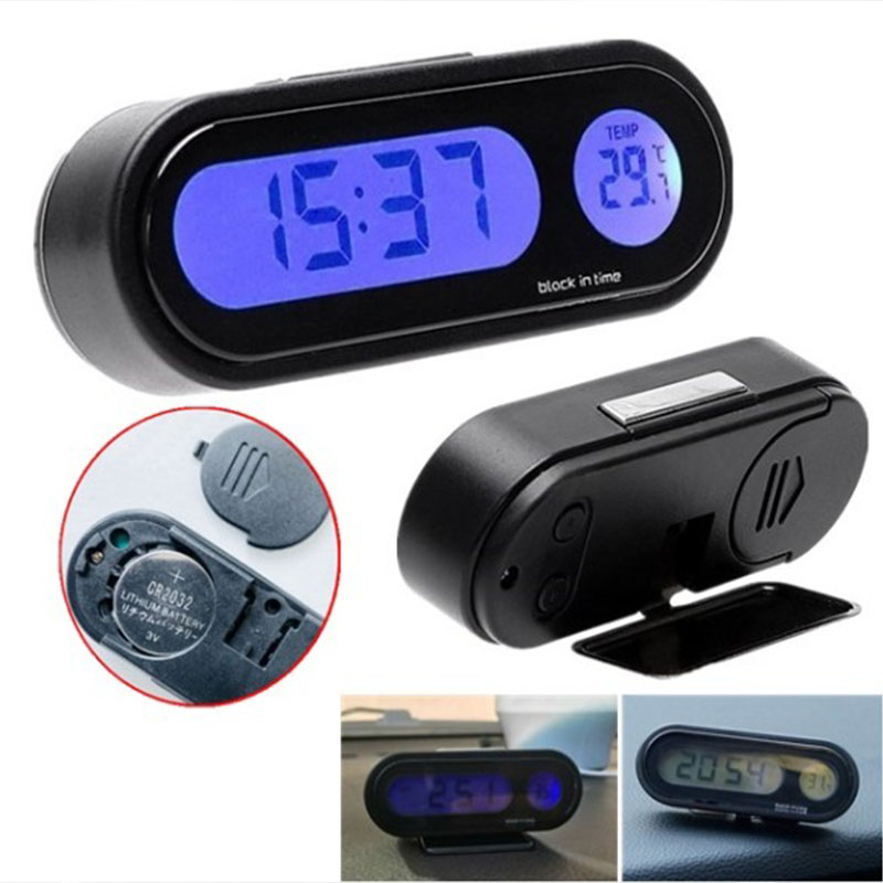 2020 Car electronic clock thermometer luminous thermometer blue LED thermometer schedule