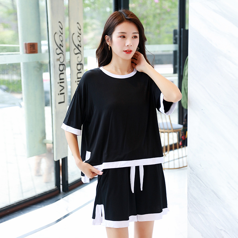 Casual Sports WOMEN'S Suit Summer 2019 New Style Korean-style Large Size Loose Fashion Crew Neck Short Sleeve Shorts Two-Piece S