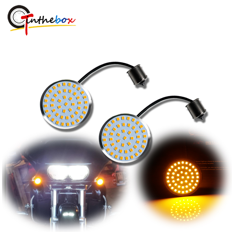 Gtinthebox Bullet Style 1156 Amber LED Turn Signal Light Bulbs For Harley Davidson Softail Dyna Sportster Road Glide Motorcycles
