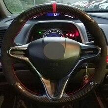 DIY Black Suede Carbon Fiber Car Steering Wheel Cover for Honda Old Civic 2004 2011 (3 Spoke) Civic Civic 8 2006 2009