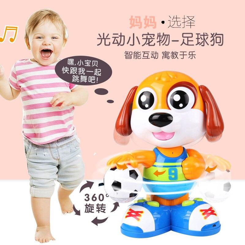 Goldman Intelligent Early Childhood Football Dog Will Dialogue Singing Dancing Electronic Story Music Robot Dog Pet Dog Toy