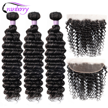 Cranberry Hair Deep Wave Bundles With Frontal 13x4 Ear To Ear Lace Frontal With Bundles Peruvian Human Hair Bundles With Closure