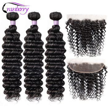 Cranberry Hair Deep Wave Bundles With Frontal 13x4 Ear To Ear Lace Frontal With Bundles Peruvian Human Hair Bundles With Closure image