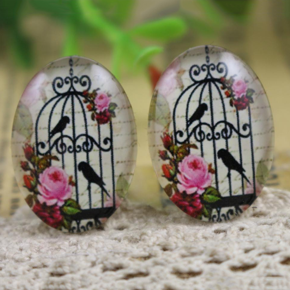 Hot Sale 10pcs 18x25mm New Fashion Birdcage Handmade Photo Glass Cabochons Pattern Domed Jewelry Accessories Supplies-H6-02