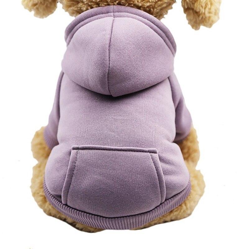 Одноцветная Толстовка для домашних животных с шапкой, осенне-зимняя одежда для собак, джемпер для питомцев, толстовки для собак, толстовка, продукт для домашних животных - Цвет: purple