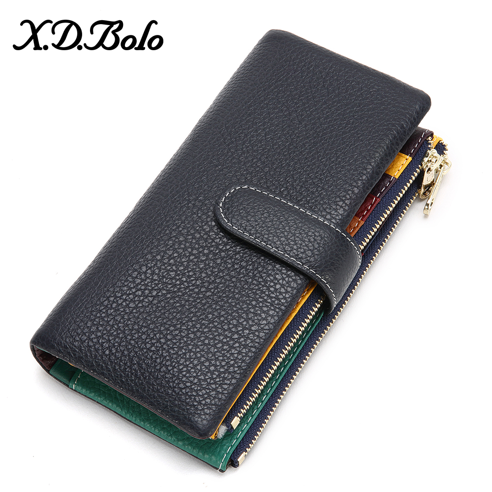 XDBOLO New Design Wallet Women Leather Phone Pocket Wallets Woman Genuine Leather Women's Purses Card Holder Clutch Wallet