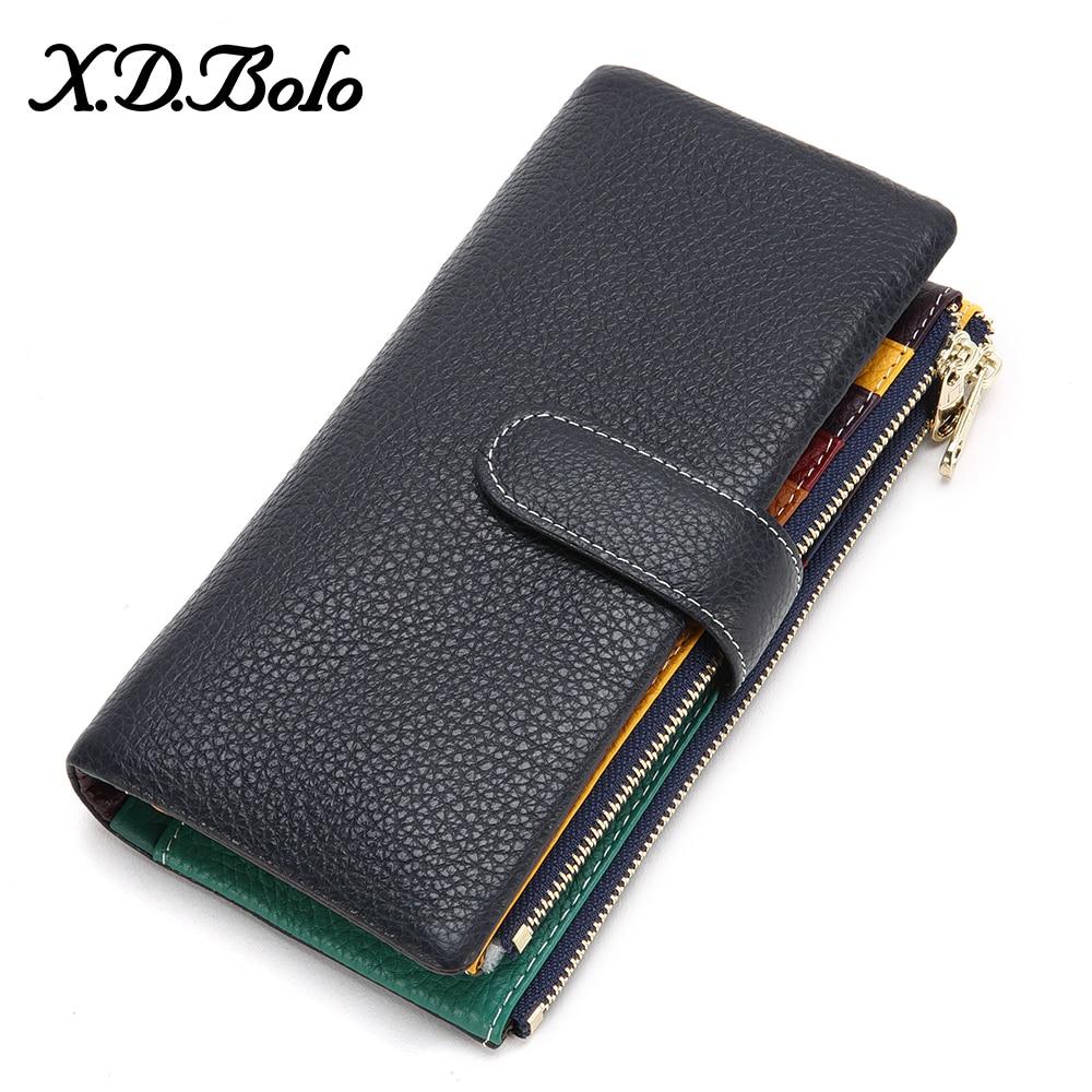 XDBOLO New Design Wallet Women Leather Phone Pocket Wallets Woman Genuine Leather Women's Purses Card Holder Clutch Wallet