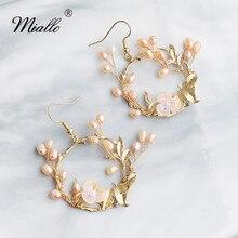 Miallo Luxury Handmade Freshwater Pearls Wedding Earrings Gold Flowers Bridal Drop Earrings Big Lady Eardrop все цены