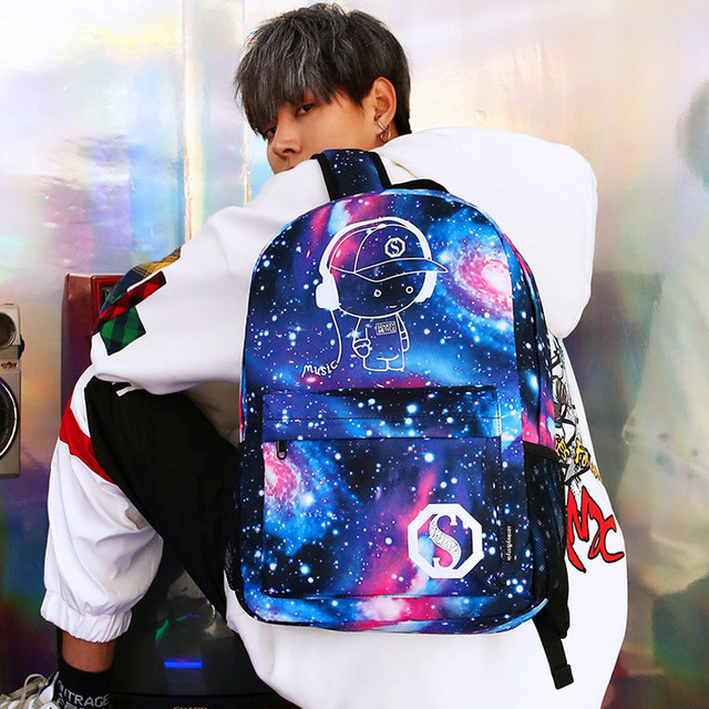 Luminous Student School Bag Anime Laptop Backpack for Boy Girl Daypack with USB Charging Port Anti-theft Lock Camping Travel bag 2