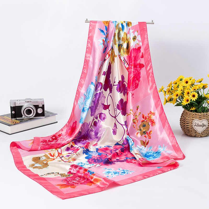 """ผู้หญิงดอกไม้มุสลิม Hijabs 35 """"ซาตินสแควร์ผ้าไหมเช่นผมผ้าพันคอและ Wraps Headscarf สำหรับ Sleeping"""