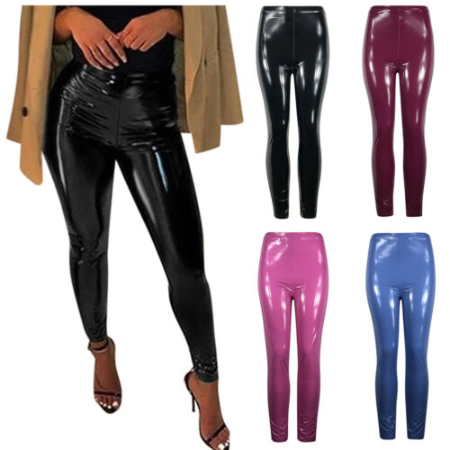 Goocheer Sexy Women Gothic Leggings Wet Look PU Leather Leggings Black Slim Thin Long Pants Skinny Leggings Stretchy Plus Size