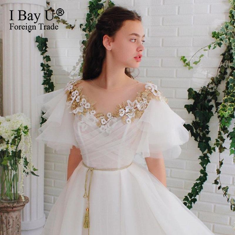 Wedding Beading Crystal Gowns Vestidos Noiva Wedding Dress Bespoke Golden De Party