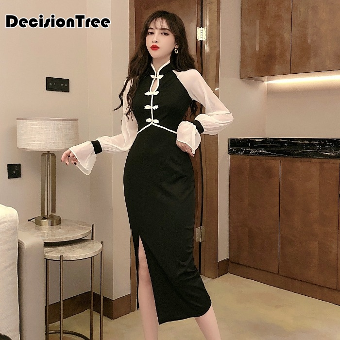 2020 Chinese Dress For Women High Split Hollow Out Long Sleeve Cheongsam Modern Improved Qipao Oriental Collars Sexy Long Qi Pao