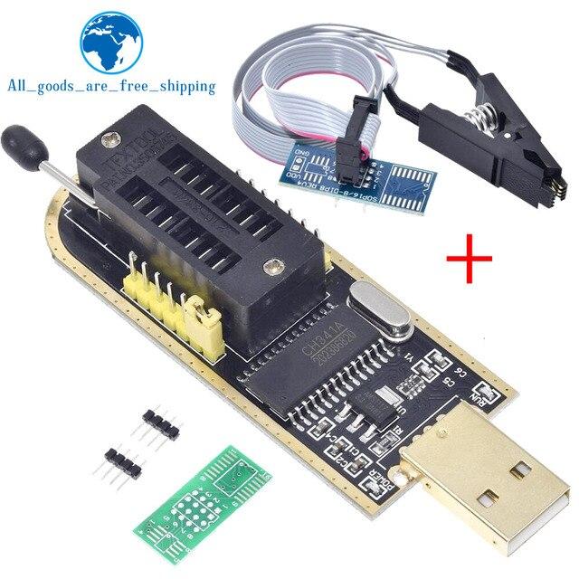 TZT CH341A 24 25 Series EEPROM Flash BIOS USB Programmer Module + SOIC8 SOP8 Test Clip For EEPROM 93CXX / 25CXX / 24CXX DIY KIT