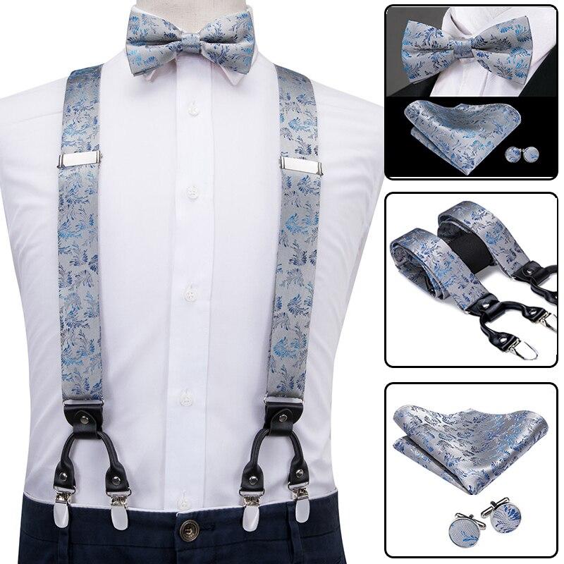 Hi-Tie Men Suspenders Floral Fashion Wedding Various 6 Clips Party Pre-Tied Bowtie Pocket Square Set Adjustable Grey Braces