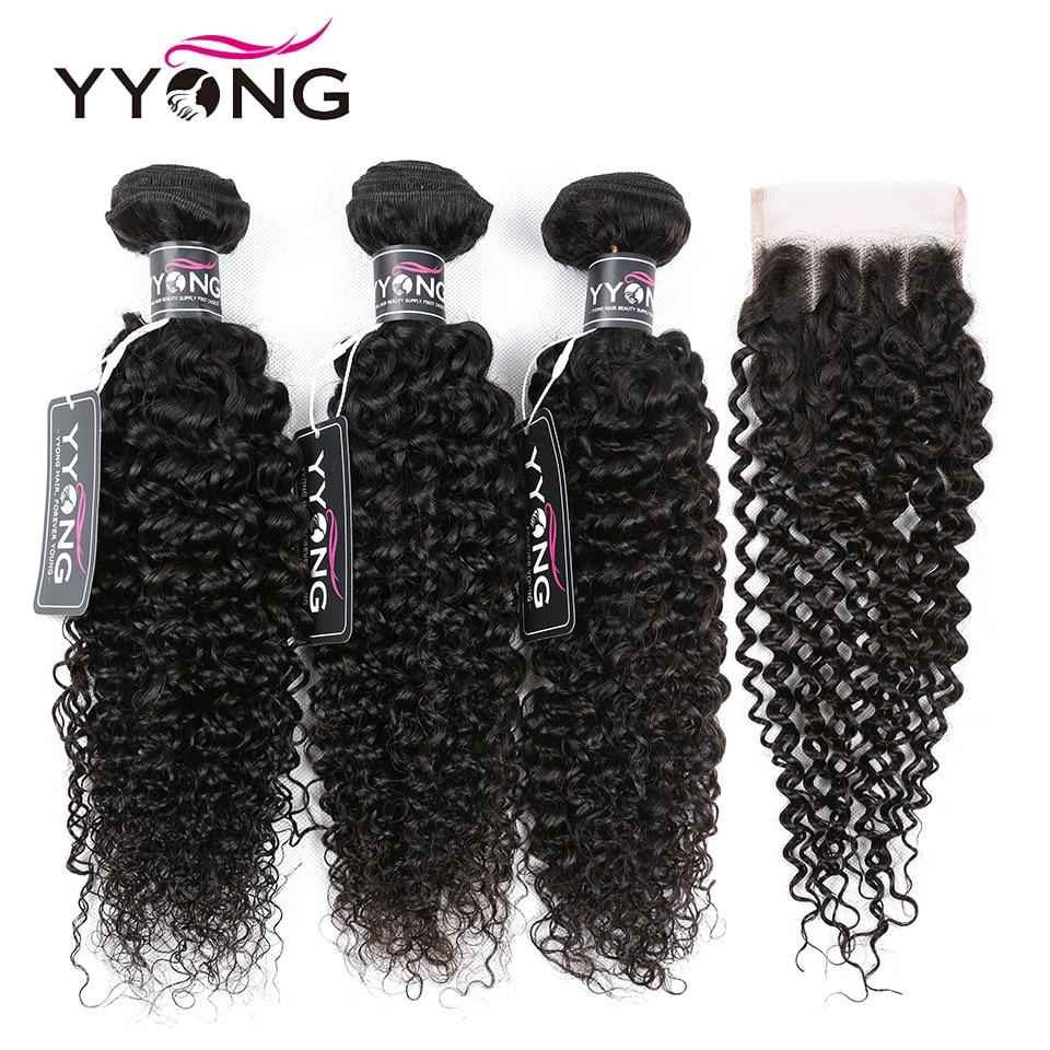 Yyong, Pelo Rizado peruano, 3 mechones con cierre de encaje, extensiones de cabello humano mechones con cierre 100% extensiones de cabello humano