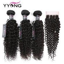 Fasci di capelli ricci crespi peruviani di y(3 con chiusura in pizzo fasci di capelli umani con chiusura estensioni del tessuto dei capelli umani al 100%