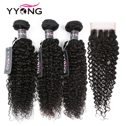 Yyong Peruvian Kinky Curly Hair 3 Bundles With Lace Closure Human Hair Bundles With Closure 100% Human Hair Weave Extensions