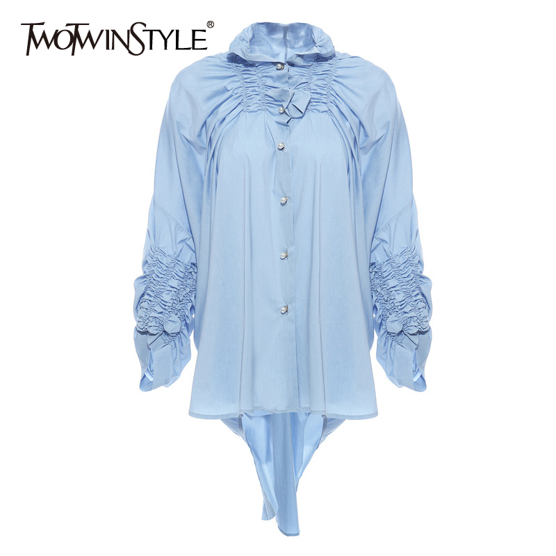 TWOTWINSTYLE Ruched Blouse Women Stand Collar Long Sleeve Irregular Hem Loose Shirt For Female Fashion Clothing 2020 Spring Tide