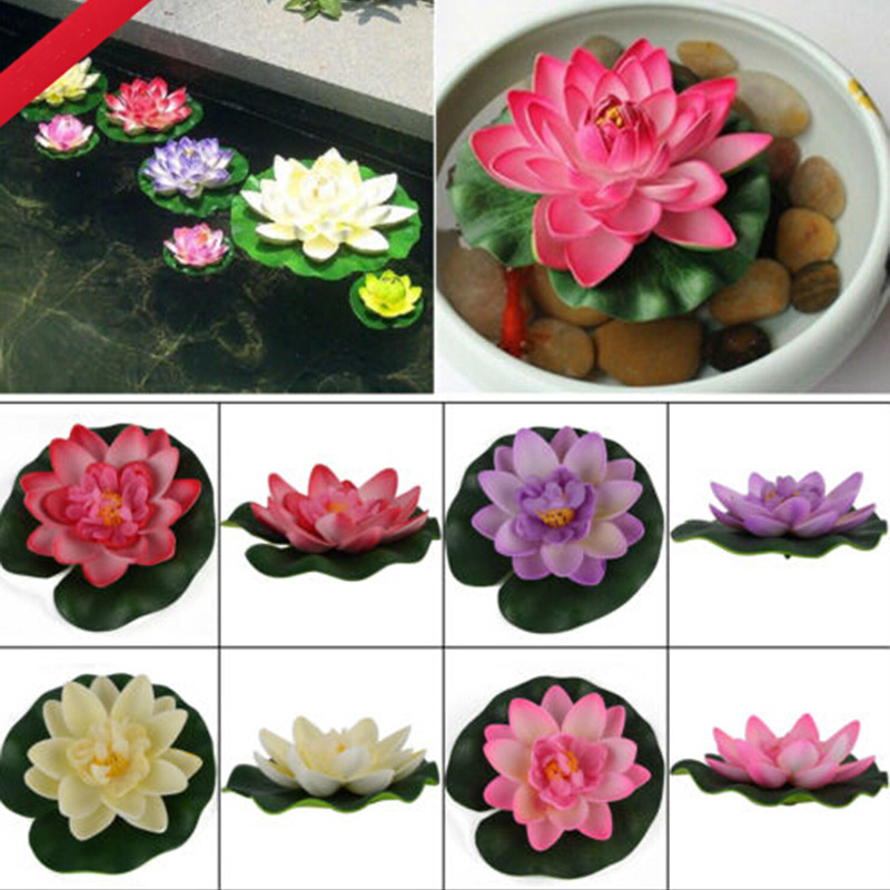 1Pc Floating Artificial Lotus Ornament For Aquarium Fish Tank Pond Water Lily Lotus Artificial Flowers Home Decoration Supply