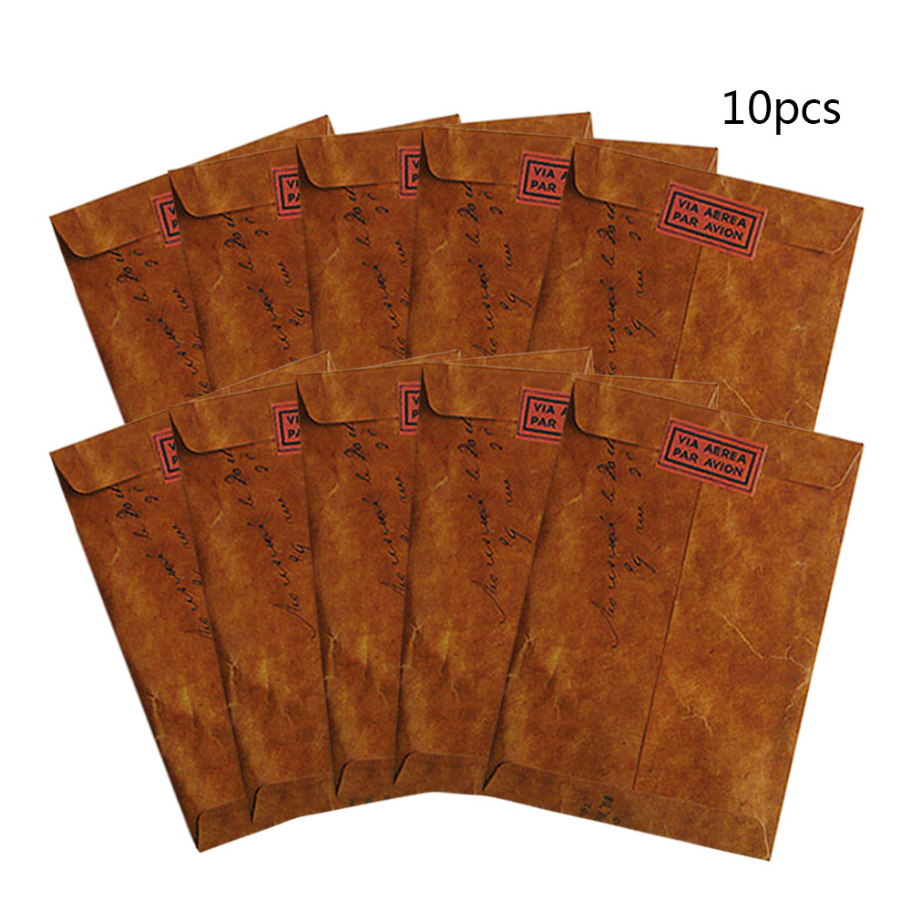 10 Pcs/lot Vintage Kraft Wax Envelopes Wedding Invatate Envelope Postcard Cover Sobres Papel Stationery Zakka Gift Hot Sale
