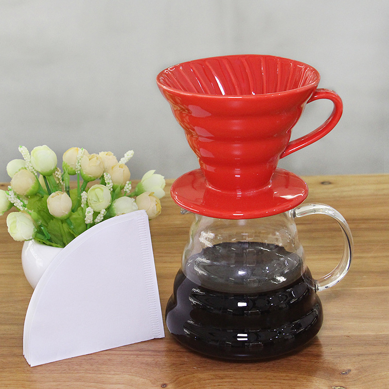 Ceramic Coffee Dripper For  Japness V60 Style Coffee Drip Filter Cup Permanent Pour Over Coffee Maker For 1-2 Cups 01