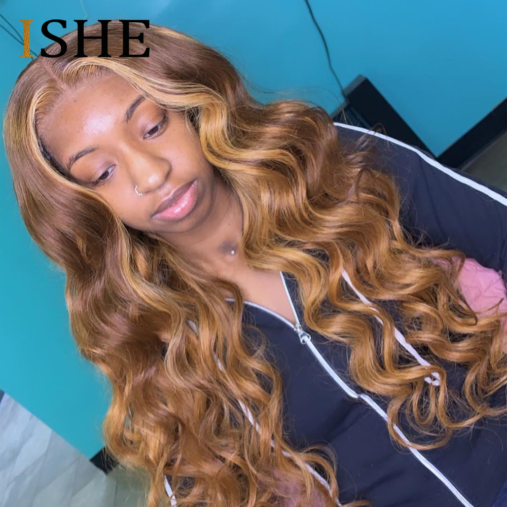 Honey Blonde Colored Curly Wigs 13x6 Lace Front Human Hair Wigs Ombre Pre Plucked Lace Wigs For Black Women Remy Hair 150 ISHE
