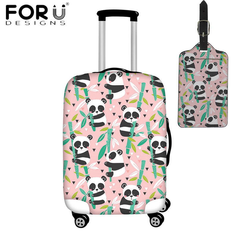 FORUDESIGNS Travel Accessories 2pcs/set Luggage Cover Baby Panda Bamboo Suitcase Protective Covers For 18-32 Inch Trunk Case