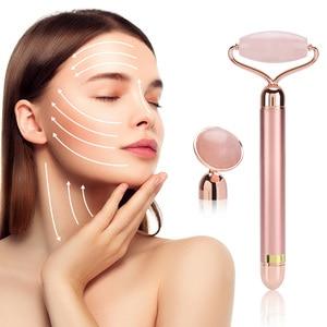 Image 5 - Elektrikli vibratör gül yeşim rulo yüz germe cilt sıkma Anti Aging zayıflama yüz Guasha yeşim taş güzellik yüz masajı