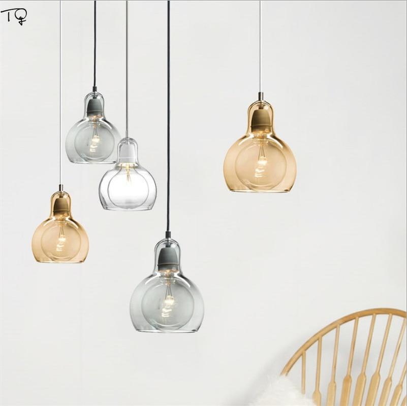Nordic Simple Gourd Glass Pendant Lights Modern Restaurant Bar Bedroom Bedside Balcony Creative Personality Led Light Fxitures