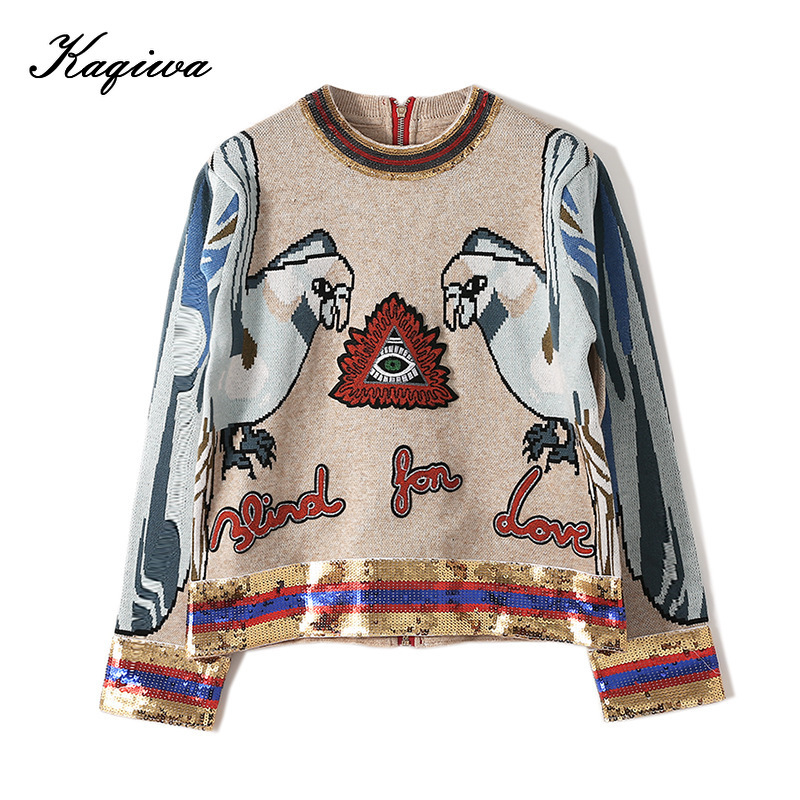 Star Same Heavy Industry Sequin 3D Parrot Embroidery Back Zipper Knit Gold Thread Long Sleeve Round Neck Sweater Female B-009
