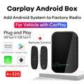 Автомобильный мультимедийный плеер AI Box Apple CarPlay, подключи и работай, Android 9,0, 4 Гб + 32 ГБ, GPS, Wi-Fi, зеркальный телефон с откидным экраном