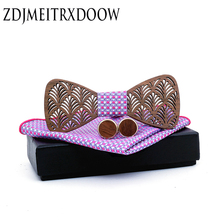 Fashion New Style Mustache Geometry Mens Wooden Bowtie Classical Pet Bamboo Wood Butterfly Cufflinks Bow ties Sets