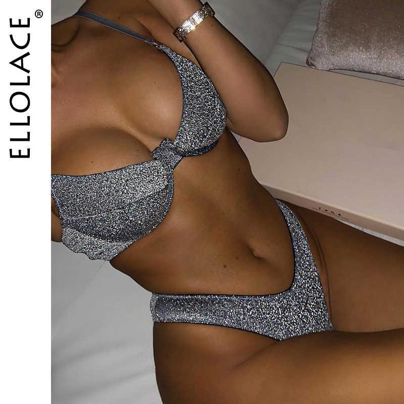Black big tits tiger micro bikini Ellolace Shiny Bikini Swimwear Women V Neck Push Up Biquini Feminino Monokini Bathing Suit Swimsuit Female 2020 New Beach Wear Bikini Set Aliexpress