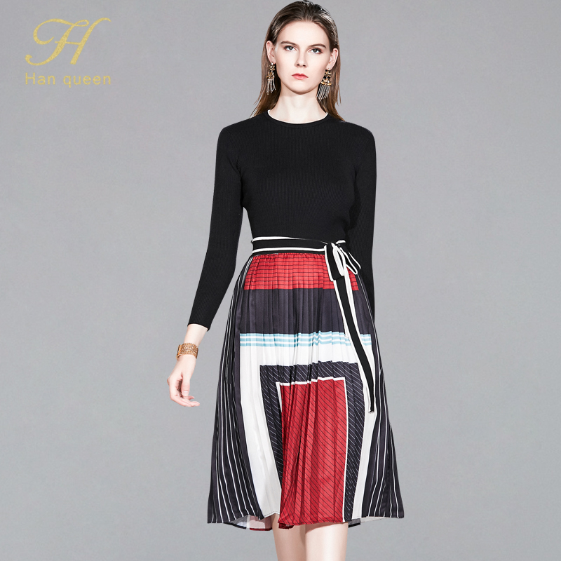 H Han Queen 2 Pieces Suits Women 2019 Winter Stretch Knitting Pullover Crop Top & Elastic Waist Pleated Skirt Casual Office Set