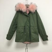 Meifng повседневная одежда парка женская короткая армейская зеленая Меховая куртка с розовой мягкой подкладкой пальто с воротником из меха енота