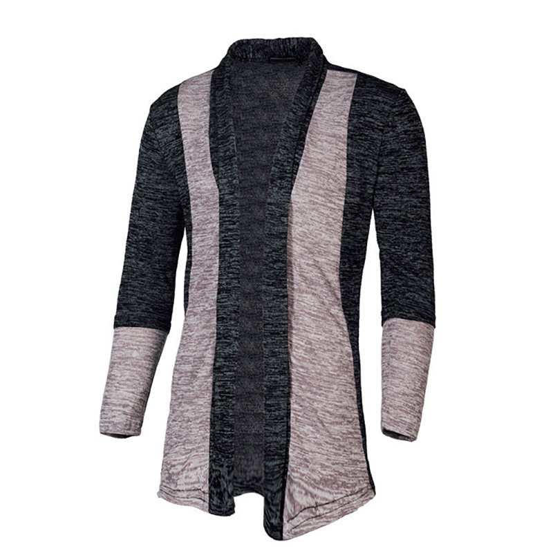 Casual Patchwork  Men Cardigan Streetwear Long Sleeve Knitted Sweaters Mens Slim Fit Overcoat Autumn Winter  Plus Size