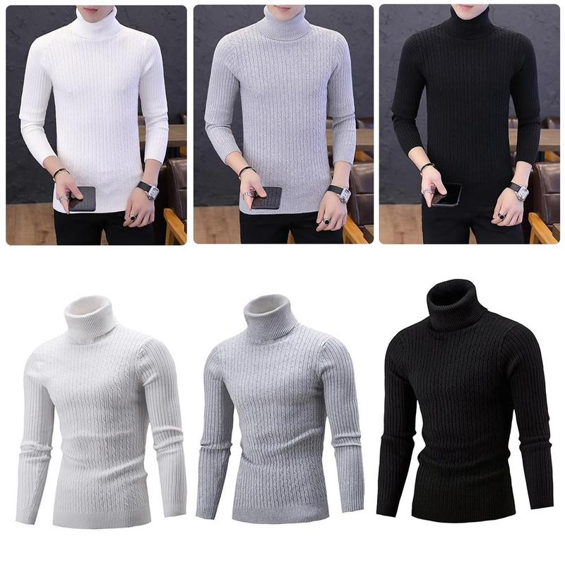 Autumn And Winter New High Collar Thick Warm Sweater Casual Fashion Twist Sweater Men's Slim Pullover Double Collar Sweater