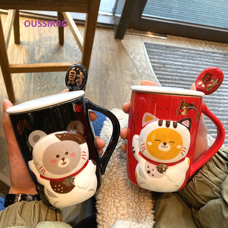OUSSIRRO Creative Style <font><b>Lucky</b></font> Kitty <font><b>Cat</b></font> milk coffee Tea Mugs With Spoon Suit Children Cute And Room Decoration Water <font><b>Cups</b></font> image