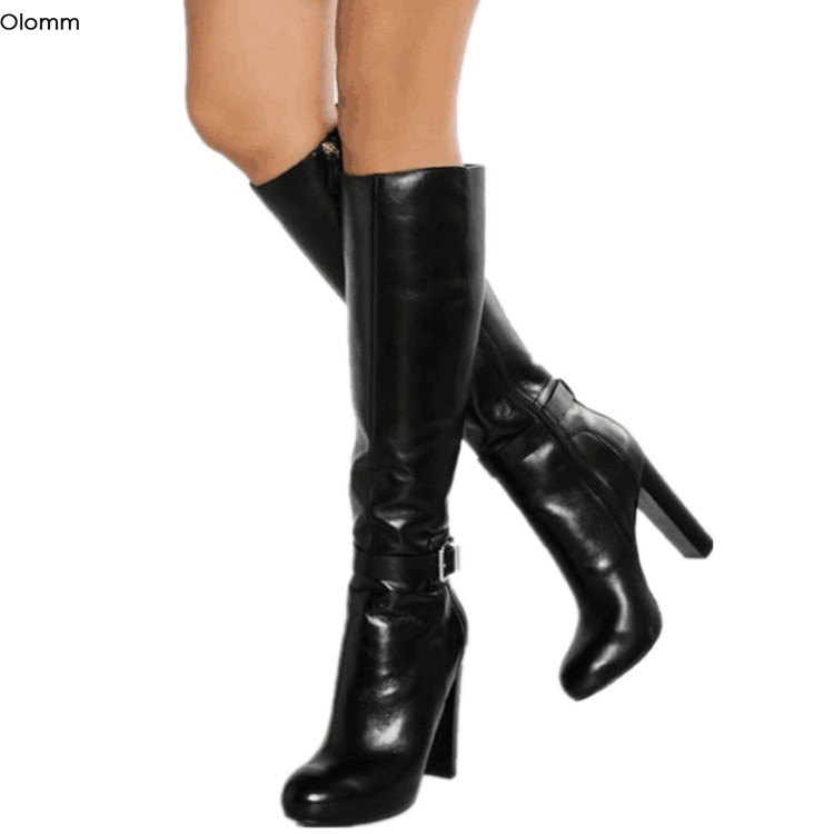 Olomm New Stylish Women Knee High Boots Sexy Square High Heel Boots Round Toe Elegant Black Party Shoes Women Plus US Size 5-15