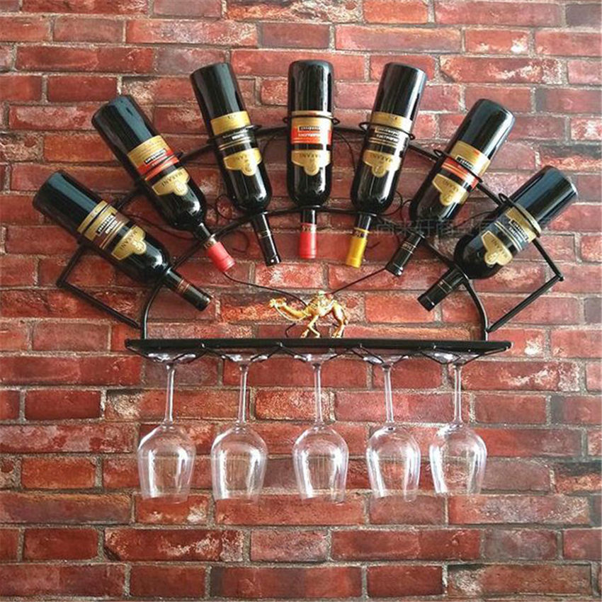 European  Iron Wall Wine Rack Pendant Creative Wrought Iron Bar Decoration Rack Wall Hanging Display Wall Wine Rack