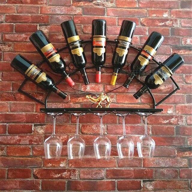 Europejski żelaza stojak na wino wisiorek kreatywny kutego żelaza dekoracje barowe rack wiszące na ścianie wyświetlacz stojak na wino
